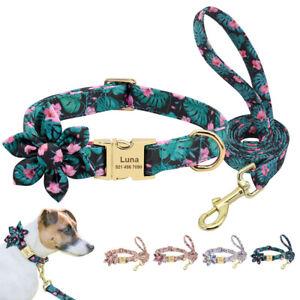 Blumen Personalisiert Hundehalsband und Hundeleine Set Gravur Namen Verstellbar