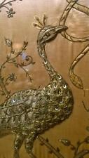 Exquisite Antique Indian Silk Stump Work Fire Screen Depicting Peacocks & Snake