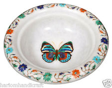 """7"""" Marble Dry Fruit Bowl Real Marquetry Mosaic Butterfly Inlay Arts Gifts H2200"""