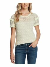 CECE Womens Yellow Knitted Patterned Short Sleeve Jewel Neck Top Size: M
