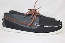 """ISLAND SURF """"DIXON"""" CASUAL BOAT SHOES 2 EYELET MEN'S 12M BLACK/GRAY LEATHER"""