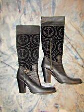 MIU MIU Womans Black Leather and Velvet Knee High Boots EUR 39.5/USA 9.5-10 EUC