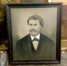 Antique Primitive Folk Art Pastel  Portrait Of Man Framed
