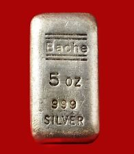Rare Old  5oz  Bache   .999 Silver Bar