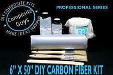 "DIY CARBON FIBER FABRIC KIT 6"" X 50"" 1X1 PLAIN WEAVE SKINNING LAMINATING AUTO RC"