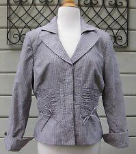 Kay Unger New York X Neiman Marcus Lavendar Gingham Silk 3/4 Slv Jacket Wms 12