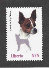 Dog Art Head Portrait & Silhouette Postage Stamp Toy Fox Terrier Liberia Mnh