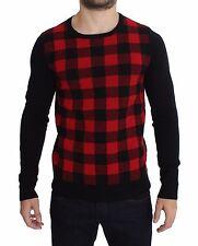 NUOVO COSTUME NATIONAL C E C rosso nero lana collo tondo maglione IT54 / XXL