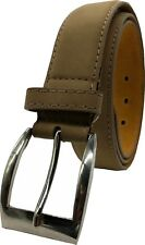 """Mens Real Leather Belt 100% Black Tan Brown XL-XXL 1.25"""" Buckle Forest Belts"""