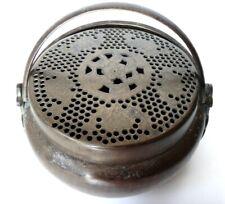 Chaufferette Chine brule parfum Old hand warmer bronze censer brass chinese XIX