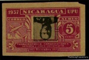 ANTIQUE INVERTED CENTRE ERROR POST STAMP NICARAGUA SCC221C 1937 MLH I61A