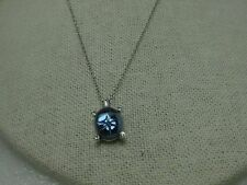 """Sterling Silver Faux Blue Star Sapphire  Pendant, 16"""" chain, with clear accents"""