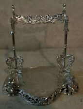 SIX INCH TALL CHROME PLATED METAL CUP AND SAUCER DISPLAY ANGELS ON BASE ####
