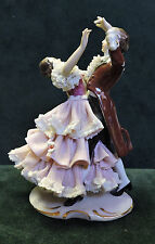 Gorgeous German Dresden Art Lace Figurine Man Woman Dancing Victorian 5""