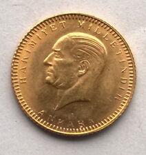 Turkey 1923 Atatürk 25 Kurush Gold Coin,UNC