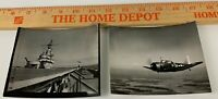 Lot of 2 WWII US Navy Photos Fighter Aircraft SNJ Texan SBD Dauntless Flight