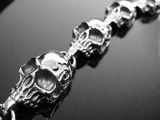 Handmade Silver Fire Flame SKULL Chain Bracelet for Harley Davidson Biker TB113
