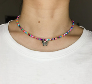 Necklace Choker Colourful Beads Silver Butterfly Elegant Summer Gift Bag UK