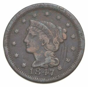 1847 Braided Hair Large Cent - Charles Coin Collection *560