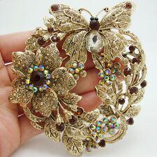 Vintage Style Butterfly Flower Brooch Pin Topaz Austrian Crystal Rhinestone