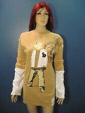 L gold and white long sleeve hustler style knit shirt by VINTAGE DON