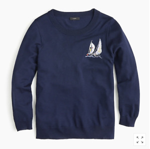 NWT J.Crew  Sailboat Tippi sweater in merino wool-J0973-NAVY IVORY-size SMALL