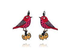 Boucles d'Oreilles Oiseau & Papillon - Rouge - pOpup-bijOux