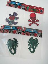 4x Cloth Patches Anchor with Rose, Skull + 2 Scorpions Iron-on, Sew-On