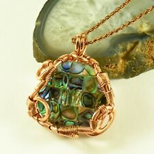 Genuine Mother Of Pearl Antiqued Copper Wire Wrapped Pendant Artisan Jewelry