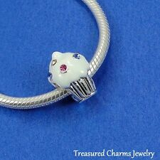 Silver VANILLA CUPCAKE Sweet Treat LARGE HOLE BEAD CHARM fits EUROPEAN Bracelet