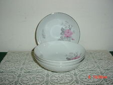 "4-PC ""ROSE BOUQUET"" 6 1/2"" SOUP-SALAD BOWLS/JAPAN/WHITE-PINK ROSES/CLEARANCE!"