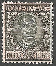 1910 Italia Regno L. 10 oliva S. N° 91 ben centrato ** integro