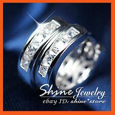 9k White Gold GF E19 Square Diamond 12mm Hoop Sleeper Solid Mens Womens Earrings