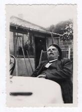 PHOTO ANCIENNE Dormeur Sommeil Sieste Repos Yeux fermés 1950 Vieil Homme Chaise