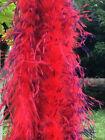 Ostrich Boa 1 Ply Fluffy Feather Boa Red Purple Trim Two tone