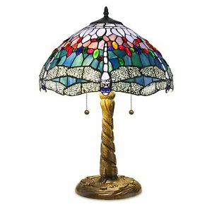 """Tiffany Style Handcrafted Stained Glass Blue Dragonfly Table Lamp 14"""" Shade"""