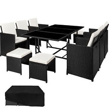 Conjunto muebles de jardín terraza ratán sintético sillas taburetes mesa negro n