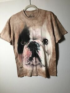 The Mountain Mens Brown Tie Dye French Bulldog Graphic T Shirt Size M Short Slv