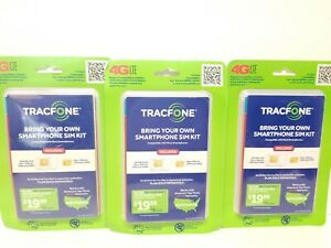 Lot of 3 TracFone SIM Activation Kit Keep Your Own Smartphone 4GLTE No Plan