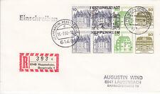 Berlin West FDC Ersttagsbrief 1982 Burgen u.Schlösser Mi. 21 R-Aufkleber