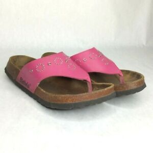 Betula Birkenstock Thong Sandals Orthotic Leather 265 10-10.5 Womens Pink