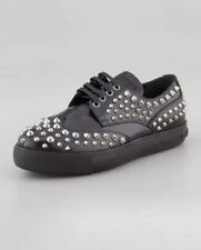 new RRP $820 PRADA STUDDED LEATHER OXFORD SNEAKERS SHOES FLATS 40 last