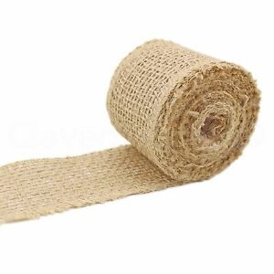"2"" Burlap Ribbon - Natural Color - 10 Yards - Finished Edge - Jute Craft Fabric"