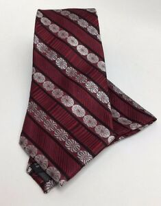Stacy Adams Men's Tie & Hanky Set Red Silver Wine & Black 100% Silk Hand Made