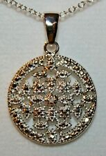 VICTORIA TOWNSEND STERLING SILVER GENUINE DIAMOND FLORAL FLOWER PENDANT & CHAIN
