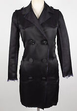 New sz US 4 Lanvin for H&M black silk coat dress jacket jewel buttons