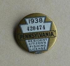1938 Pennsylvania Resident Citizen's Pin Back Button Fishing License w/Paper