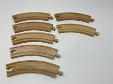 """7 Brio/Thomas the Train Compatible Wooden 6 1/2"""" 6.5"""" Curved Pieces Track Wood"""