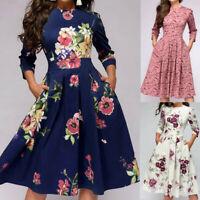 Women Floral Elegent A-line Vintage Printing Party Vestidos Dress 3/4 Sleeves L