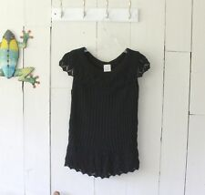 Fiorlini Black Sleeveless Sweater With Lacy Accents Size Medium